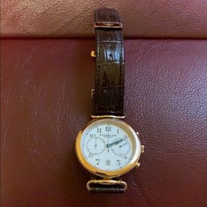 Stuhrling Mens Watch Gold with Brown Leather